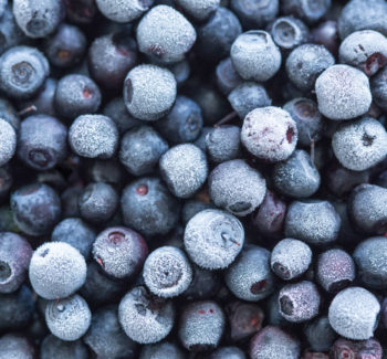 Frozen blueberries background. Close-up, selective focus